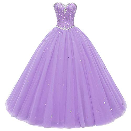 Huifany Elegant Evening Gowns for Women Formal Beaded Tulle Homecoming Dress Long Plus Size Lavender,16w