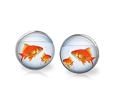Pendientes hechos a mano de pez dorado, pecera para acuario, joyería de peces, pendientes de pez dorado: Amazon.es: Hogar