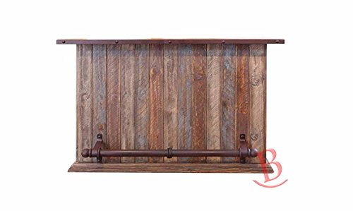 Rustic Multi Color Bar with Iron Footrest Real Solid Wood Western Lodge Cabin