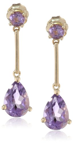 14k Gold Semi Tear-Shaped Precious Drop Earrings