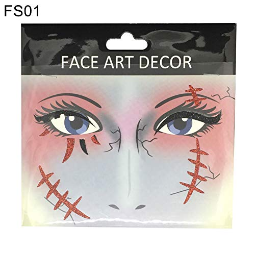 Genc Sticker Face Decor Glitter Temporary Tattoo Stickers Halloween Party Stage Makeup Prop - FS01 ()
