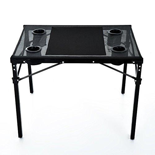 Outsunny Folding Camping Table With Cup Holders Black