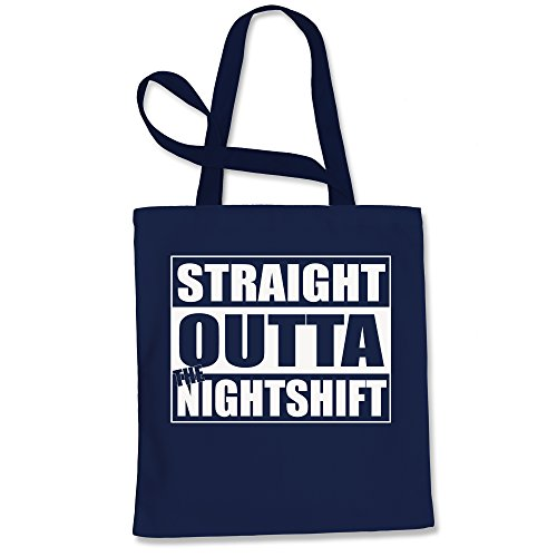 Tote Bag Straight Outta The Night Shift Navy Blue Shopping ()
