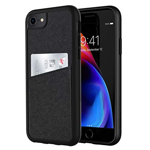 - ZUSLAB for Apple iPhone 8 case / 7 case / 6 Wallet Case [Fashion Back] with Crosshatch Leather Case with Card Holder Slot,Minimalist Pocket Cover - Black
