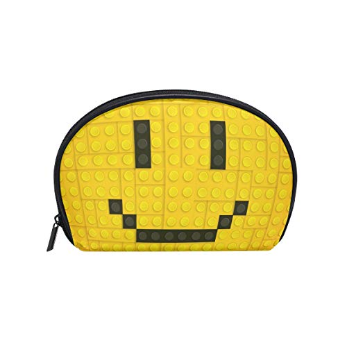 Makeup Bag Building Blocks Smiley Face Cosmetic Pouch Clutch -