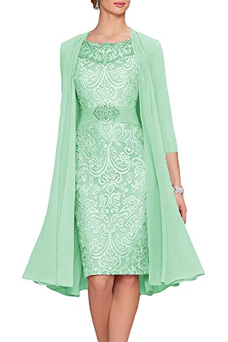 Neggcy Women's 2017 Chiffon Lace Knee Length Mother Of The Bride Dresses With Jacket Mint Green - Over Housewives 40