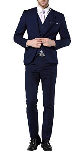 MOGU Mens One Button Suits 3 Piece Suit US Size 38(Tag Asian Size XL) Navy Blue - 3 Button Business Suit