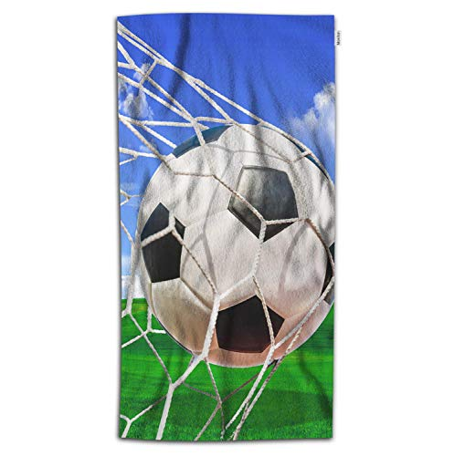 Moslion Soccer Bath Towel Sports White and Black Football in Ball Net in Green Field Grass Blue Sky Towel Soft Microfiber Baby Hand Beach Towel for Kids Bathroom 32x64 Inch