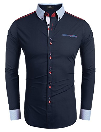 Coofandy-Mens-Fashion-Slim-Fit-Dress-Shirt-Embroidery-Patchwork-Casual-Button-Down-Shirt