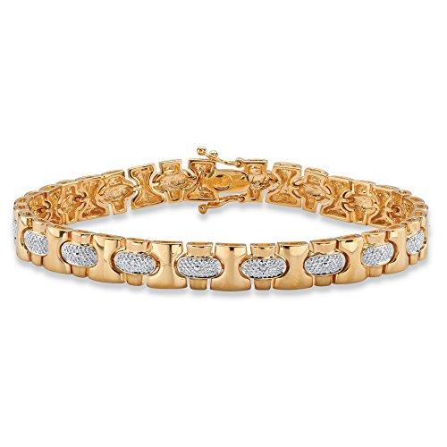 Wide Link Diamond Bracelet (Men's 18K Yellow Gold-plated Link Bracelet (8.5mm), Diamond Accent, 8.5