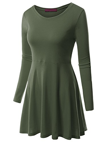 Clovery Womens grey fit and flare dress plus size evening dresses flare dresses cheap OLIVE L