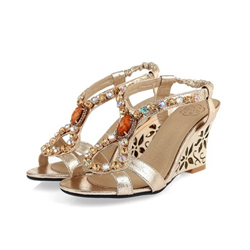 VogueZone009 Womens Open Toe Kitten Heel Wedges PU Soft Material Solid Sandals with Glass Diamond, Gold, 2.5 UK