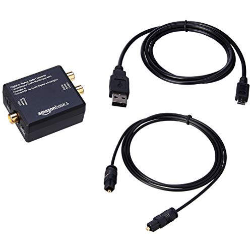 AmazonBasics Digital Optical Coax to Analog RCA Audio Converter Adapter with Fiber Cable ()