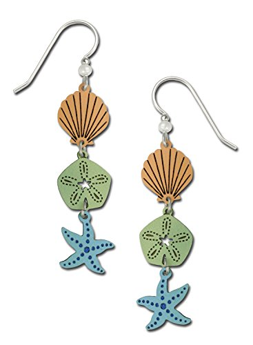 Sienna Sky Shell Sand Dollar Starfish 3 Part Hand Painted Dangle Earrings with Gift Box Made in USA