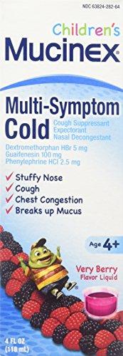 Mucinex Children's Stuffy Nose & Cold Liquid, Mixed Berry, 24oz (6X4oz) by Mucinex