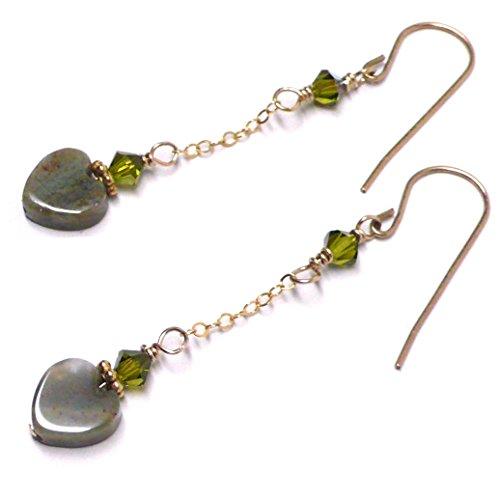 - 8mm Fancy Agate Heart Earrings Chain Dangle Swarovski Crystal Gold-Filled Olive Green