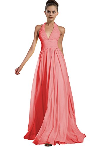 VaniaDress Women Halter Long Bridesmaid Dress Formal Evening Gowns V276LF Coral US24W from VaniaDress