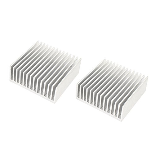 Uxcell a14041100ux0547 Aluminum Chipset Heatsink Heat Diffuse Dissipation Cooling Fin 50 mm x 50 mm x 20 mm Silver Tone (Pack of 2)