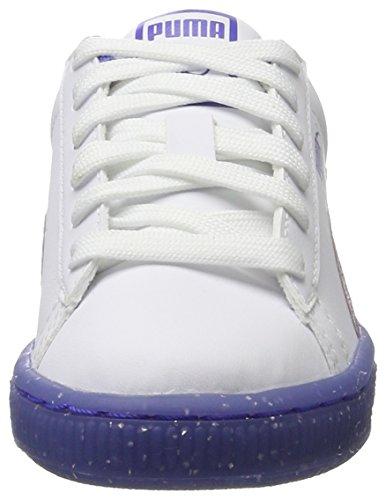 Puma Unisex-Kinder Basket Iced Glitter 2 PS Sneaker Weiß (White-Smoky Grape)