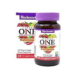 Bluebonnet Nutrition Ladies One Vegetable Capsule, Whole Food Multiple, K2, Organic Vegetable, Energy, Vitality, Non-GMO, Gluten Free, Soy Free, Milk Free, Kosher, 90 Vegetable Capsule, 3 Month Supply
