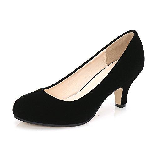 Women's Closed Toe Kitten Heel Slip on Dress Pump Shoes Velvet Black Tag 35-6 M US