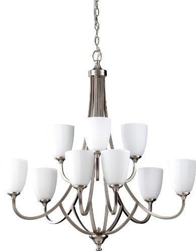 (Feiss F2585/6+3BS Perry Glass Chandelier Lighting, Satin Nickel, 9-Light (32