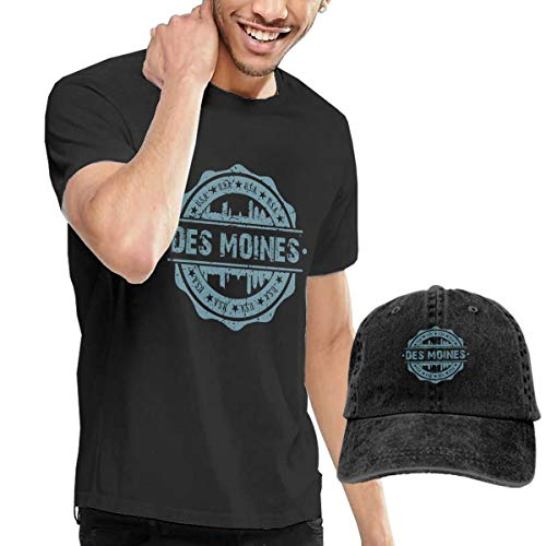 X-JUSEN Men's Des Moines Iowa T-Shirts Top with Denim Cap -