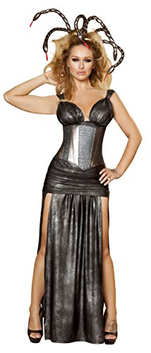 [4 Piece Sexy Medusa Greek Goddess Monster Snake Lady Costume] (Sexy Monster Halloween Costumes)