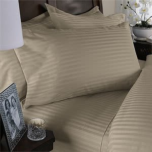 Brown Damask Stripe - Luxurious Six (6) Piece LIGHT BROWN Damask Stripe, QUEEN Size, 1500 Thread Count Ultra Soft Single-Ply 100% Egyptian Cotton, Extra Deep Pocket Bed Sheet Set with FOUR (4) PILLOW CASES 1500TC