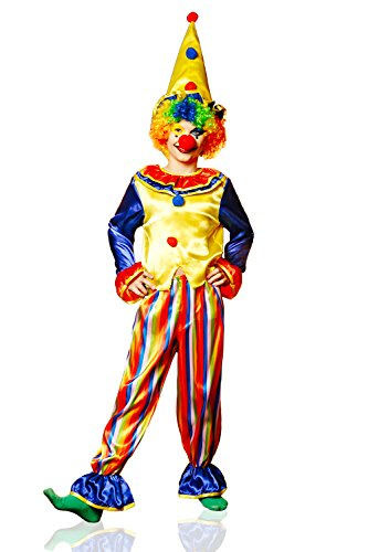 Kids Unisex Circus Clown Halloween Costume Funny Harlequin Dress Up & Role Play (3-6 years, yellow, red, (Joker Costume Ideas)