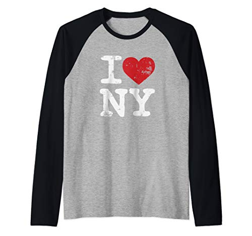 (I Love New York Souvenir Tourism  Raglan Baseball Tee)