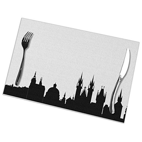Affany Placemats for Dining Table, Heat Insulation Stain Resistant Table Mat Set of 6 Non Slip Washable Tray Mat Durable Place Mats for Kitchen Dining Room Table Decoration - Prague City Skylines -