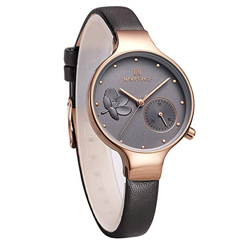 NAVIFORCE Women's Quartz Leather and Alloy Fashion Watches, Grey, Waterproof, Date, Color: Rose Gold-Toned