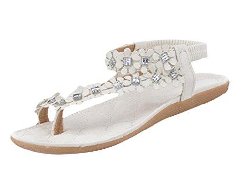e7417fcd9572 Yuxing Women Teen Girls Summer Bohemia Flat Sandals Beads Flowers ...