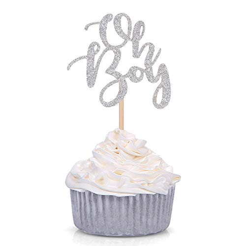 Silver Glitter Oh Boy Cupcake Toppers Appetizer Picks for Baby Shower Kids Birthday Party Supplies (24 Counts) -