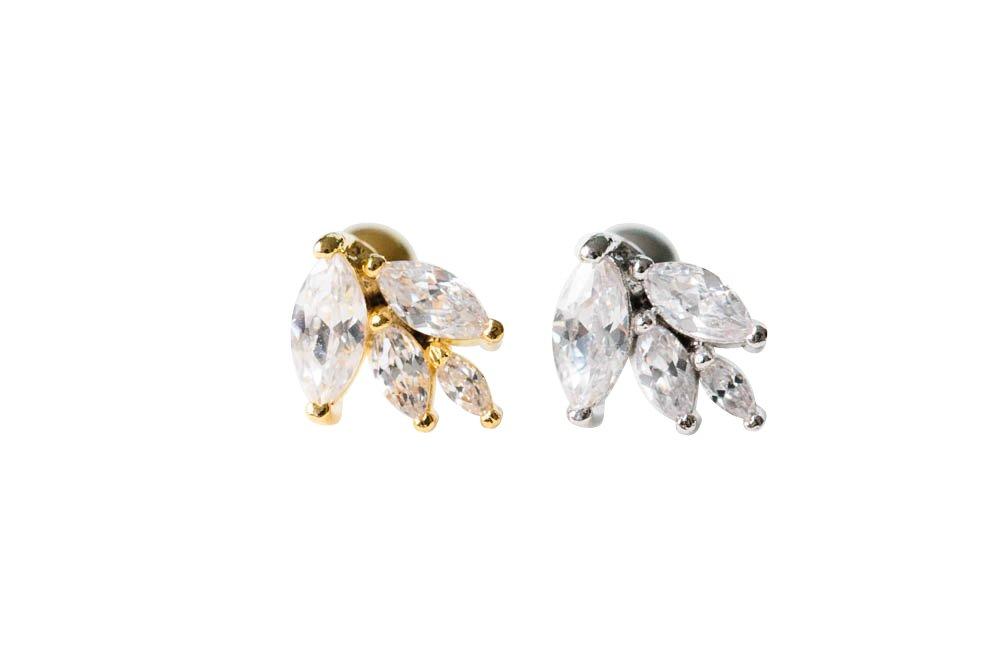 CZ waterdrops piercing-JH, cz waterdrops jewelry, cz waterdrops shape piercing, cubic zirconia piercing, cute piercing, adorable piercing, shining piercing, Barbells, Body Jewelry, body piercing, infinitine
