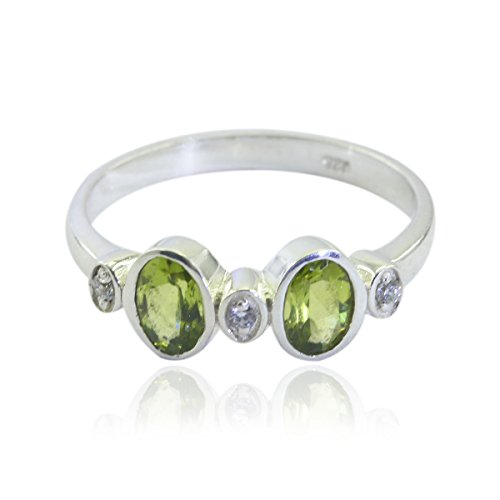 RGPL-Nice Gemstone Oval Faceted Peridot Ring - Sterling Silver Green Peridot Nice Gemstone Ring - Daughter Jewelry Most Selling Items Gift for Husband Personalized