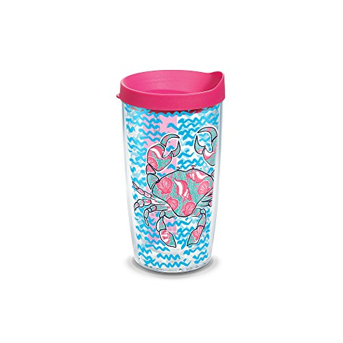 (Tervis Simply Southern Crab Colossal Wrap Tumbler with Fuchsia Lid, 16 oz)