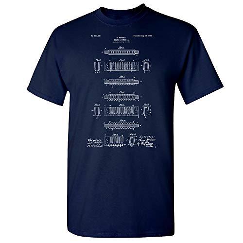 Hohner Harmonica T-Shirt, Musician Gifts, Jazz Music, Band Leader, Blues Brothers, Folk Music, Recording Studio Navy (XL)