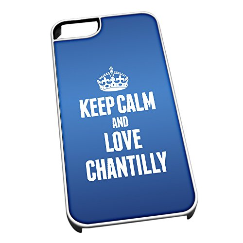 Bianco cover per iPhone 5/5S, blu 0929 Keep Calm and Love chantilly