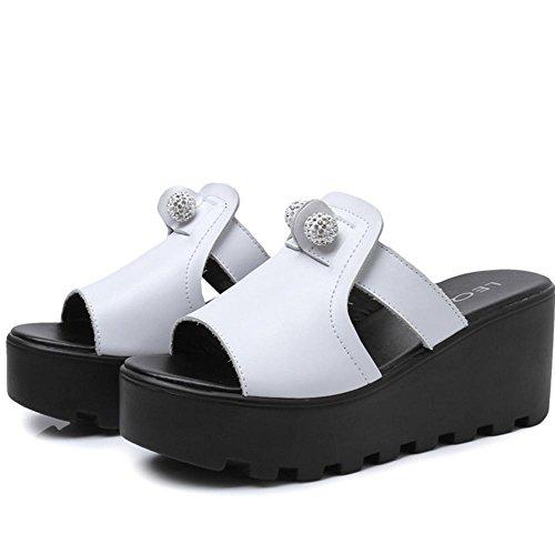 Pantuflas señoras verano moda pendiente gruesa con zapatillas frías tacones altos 1