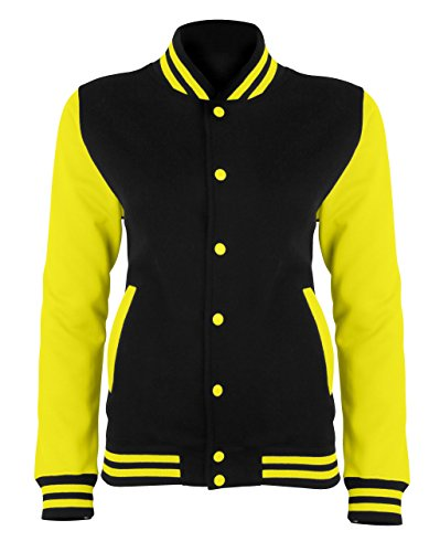 AWDis - Chaqueta - para mujer JET BLACK/ELECTRIC YELLOW extra-large