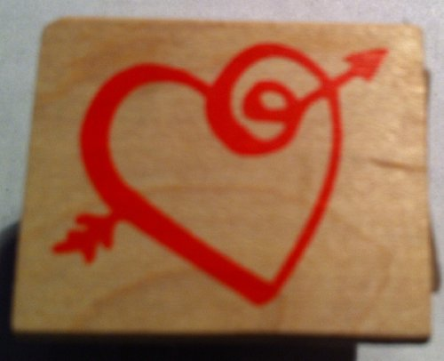 Heart Shape Outline with Swirl Arrow Rubber - Arrow Outline