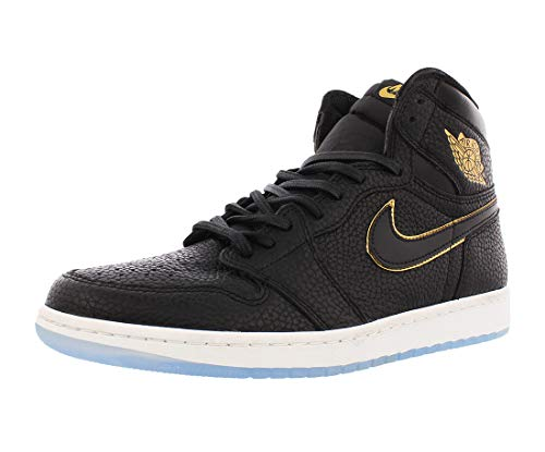 Jordan Leather Black - Jordan Retro 1 High Basketball Men's Shoes Size 12 Black/Metallic Gold
