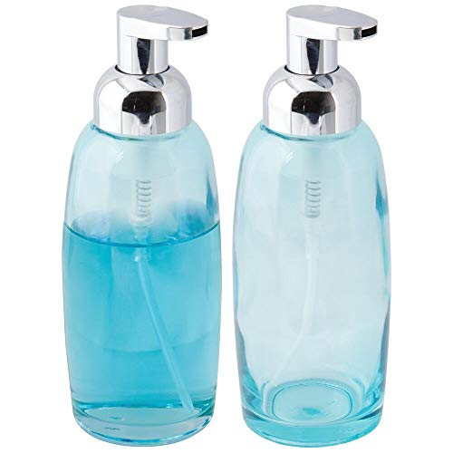 mDesign Modern Glass Refillable Foaming Soap Dispenser Pump Bottle for Bathroom Vanity Countertop, Kitchen Sink - Save on Soap - Vintage-Inspired, Compact Design - 2 Pack - Aqua Blue/Chrome