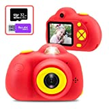 PerfectPromise Kids Camera, 1080P HD Video Camera Mini Child Camcorder with 2 Inch LCD Screen Best Dual 12MP Creative Gifts for 3-7 Year Old Boys Girls, Red(32G Memory Card Included)