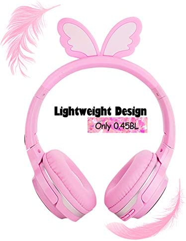 Wireless Headphones for Boys,Girls,Women,Kids,Teens Pink Bluetooth Headset for Smartphones/iPhone/iPad/Laptop/PC/TV Children Over Ear Gaming Headset with Mic&LED Light&Foldable (Angel Wings Pink)