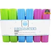 6 bolsas de hielo reutilizables para fiambreras, bolsas de comida, refrigeradores y bolsas para enfriar - Delgado y de larga duración para mantener los alimentos fríos y frescos - Juego de 6 paquetes de congeladores compactos - Multicolor