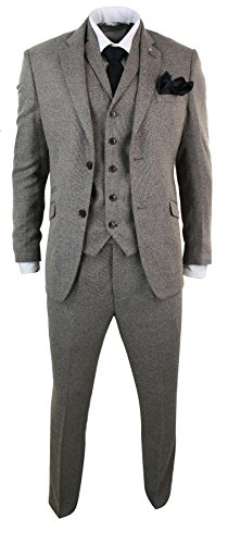 Mens Tan Brown Herringbone Tweed 3 Piece Tailored Fit Suit Classic Retro Vintage