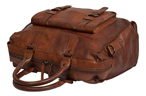 Reisetasche Reise Duffle Echtes Leder Kabine Größe Tasche Leicht HOL7799 Braun
